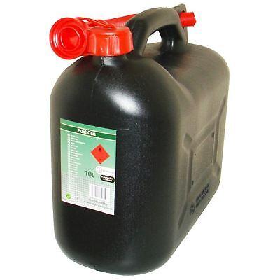 Black Diesel Fuel Canister Plastic Lawn Mower Jerry Can 10 Litre Flexible Spout