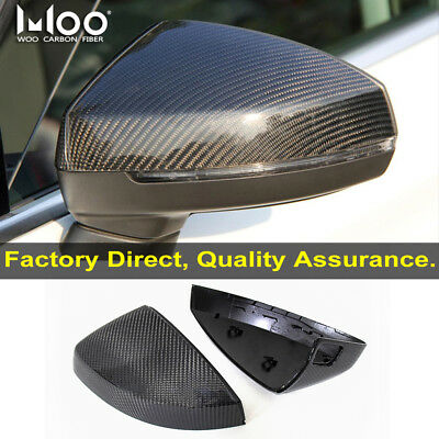 3K Carbon Fiber Mirror Cover for Audi A3 S3 RS3 With Assist Light 2014 2016 OEM