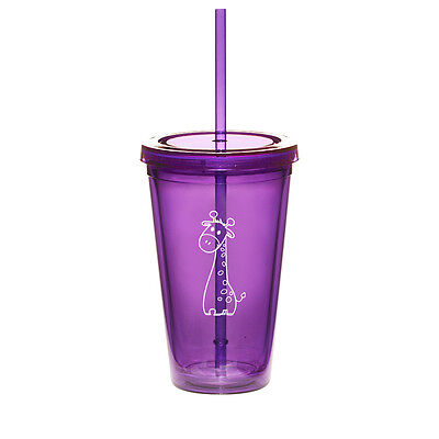 16oz Double Wall Acrylic Tumbler Pool Beach Cup Mug with Straw Cute Giraffe - Cute Tumblers With Straws