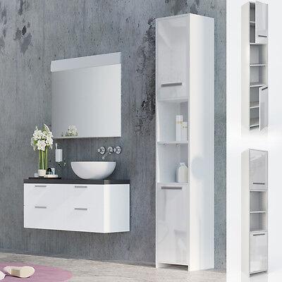 VICCO Badschrank KIKO Weiß Hochglanz - Badezimmerschrank Hochschrank Badregal