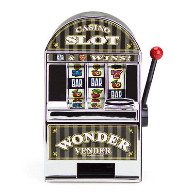 New Bars and Sevens Casino Slot Machine Money Savings Bank with Spinning Wheels