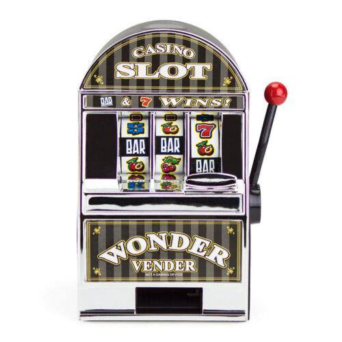 New Bars and Sevens Casino Slot Machine Money Savings Bank with Spinning Wheels