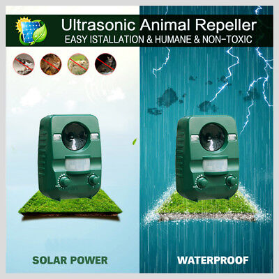 2X Cat Dog Animal Repeller PIR Sensor Garden Cat Dog Fox Repellent Solar Power