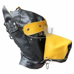 Costume party Leather dog puppy Hood Gimp mask yellow PRIVATE LISTING