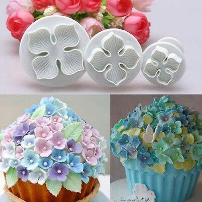 3pcs Hydrangea Fondant Cake Decorating SugarCraft Plunger Cutter Flower Mold US