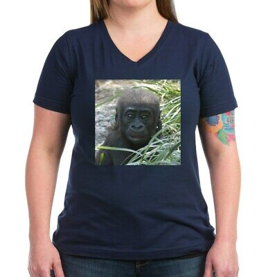 CafePress Baby Gorilla Ash Grey T Shirt Women's V-Neck Dark T-Shirt (324397117)