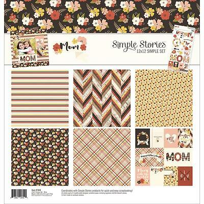 Scrapbooking Crafts 12X12 Paper Kit SS Mother's Day Flowers Mom Hearts Banner