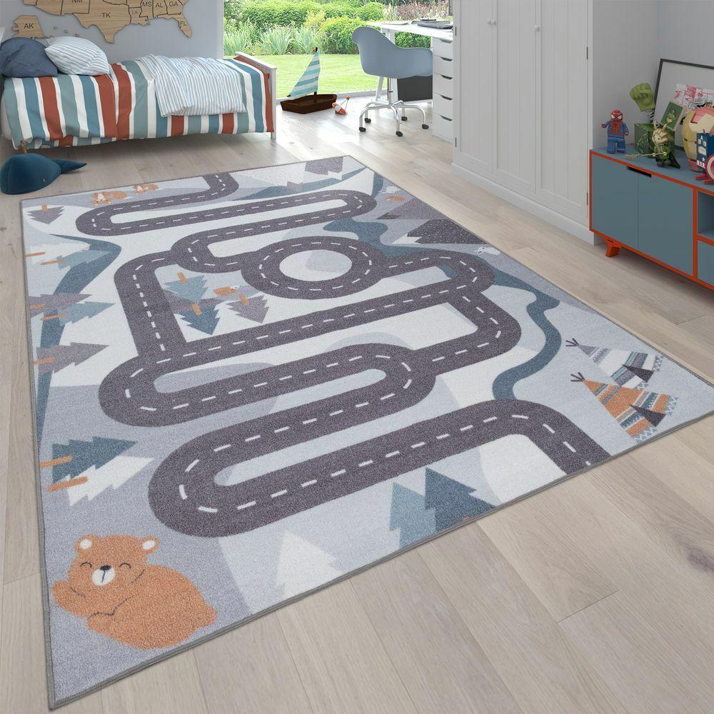 Kinder-Teppich, Spiel-Teppich Für Kinderzimmer Straßen-Motiv Mit Tieren Creme