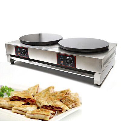 New Commercial Double Electric Crepe Maker Pancake Pan Griddle Machine 6kw 110v