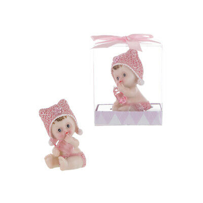- Mega Favors - Baby Girl Holding Clear Bottle Poly Resin - Pink, 12PCS