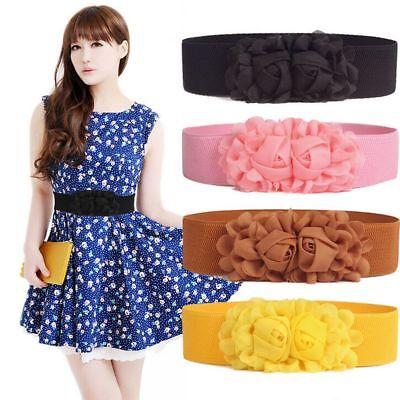 Rose Waistband - Fashion Lady Double Rose Flower Corset Belt Wide Waist Elastic Waistband