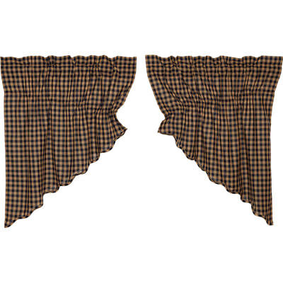 Navy Check Scalloped Prairie Window Swag Set of 2 by VHC Brands ()