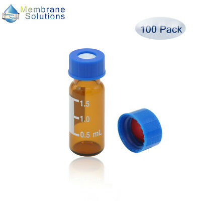 100 Pack 2ml Amber Autosample Vial Glass Vials With Screw Caps 9-425 Thread Top