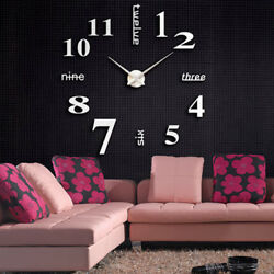 DIY Modern Large Wall Clock Kit 3D Mirror Surface Sticker Home Office Room Decor
