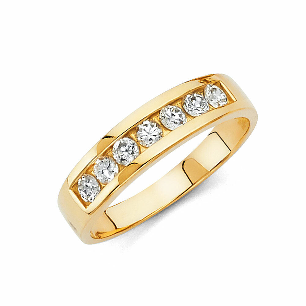 14k Yellow Gold 5 mm Mens Wedding Band Ring Round Channel Set 3.5 g size 9-13