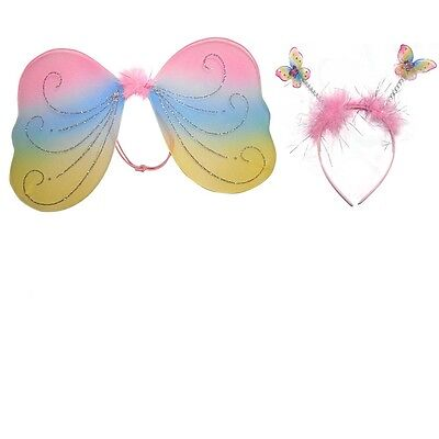 Real Fairy Costumes (Fairy Wing and Headband Set For Kids Girls Real Little)