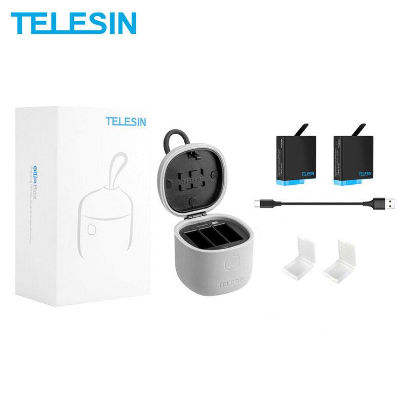 TELESIN 2Pack Battery 3 Slot Charger Storage Box for GoPro Hero 8 7 6 5 Black