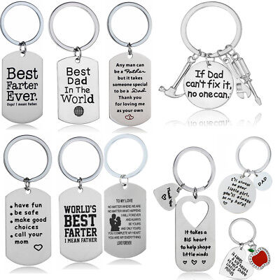 Mom Keychain - Stainless Steel Pendant Gifts For Mom Dad Lover Keyring Keychains Key Chain Ring