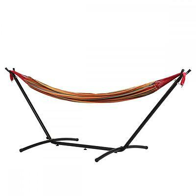 Double Hammock With Space Saving Steel Stand Includes Portable Carrying Case M32