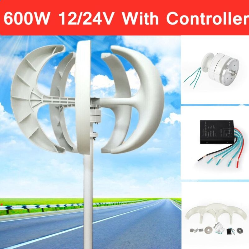 12/24V 600W 5-Blade Wind Turbine Generator Vertical Axis with Controller TOP