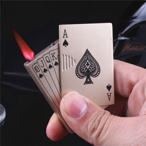 Playing Cards Cigar Torch Butane Windproof Lighter Cigarette Flame Refillable