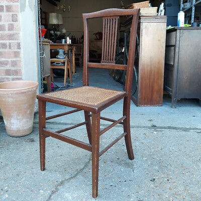 Pierced Splat Back Mahogany Parlour Chair With Open Cane-Work Seat