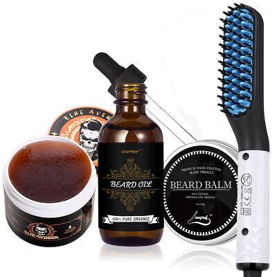 Men Best Beard Care Gift-Beard Hair Straightener Comb+Beard Oil+Balm+Hair
