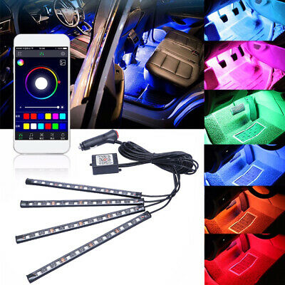 4X LED RGB Light Strip Car Atmosphere App BT Control Interior Lamp Multi-Color