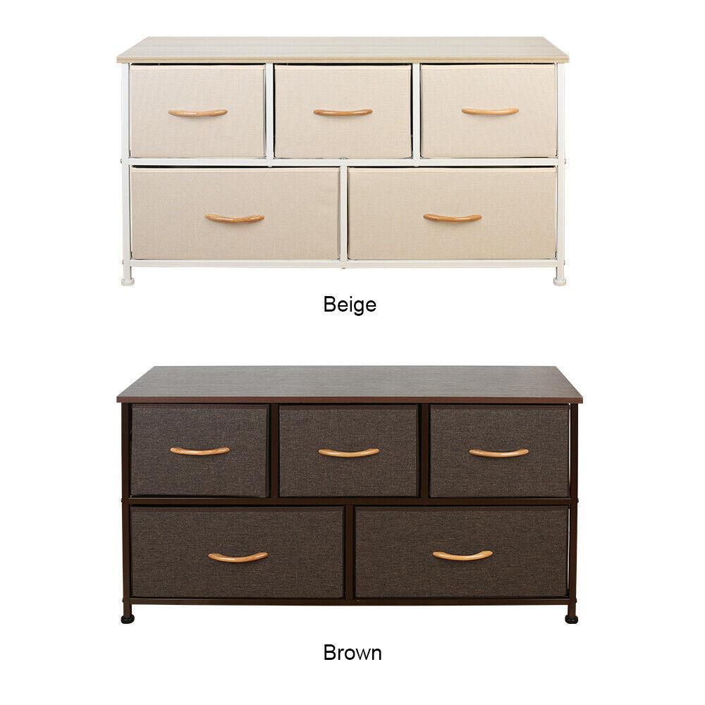 """5 Drawers Storage Cabinet 39.5"""" Wide Vertical Dresser Storag"""