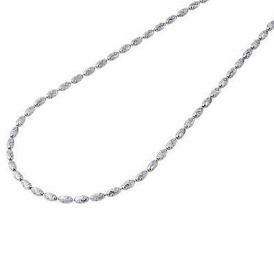 Mens Womens 10k White Gold Beaded Chain Necklace 1.2 mm 16