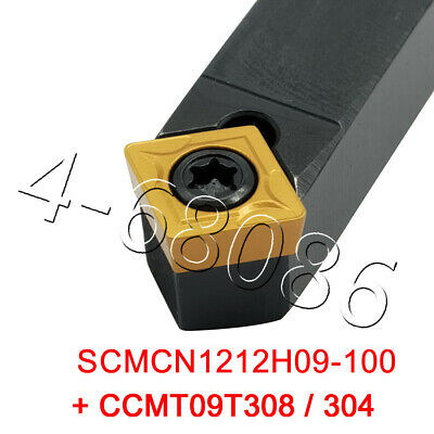 1pc Lathe Turning Tool Holder Scmcn1212h09-100 5pc Carbide Insert Ccmt09t308