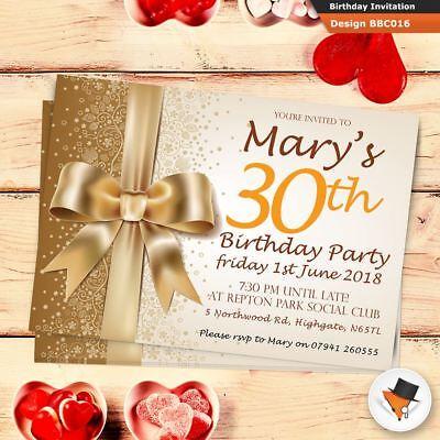 Personalised birthday invitations invites + envs 18th 21st 30th 40th 50th 70th ! (50th Birthday Invitations)