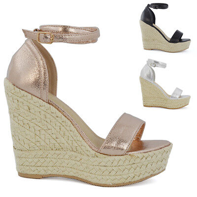 Ankle Strap High Wedge (Womens High Wedge Platform Heel Sandals Ladies Ankle Strap Peep toe Espadrilles )