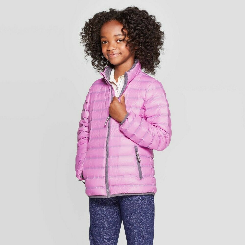 Girls' Down Midweight Puffer Jacket – Cat & Jack Violet (Purple) M Clothing, Shoes & Accessories