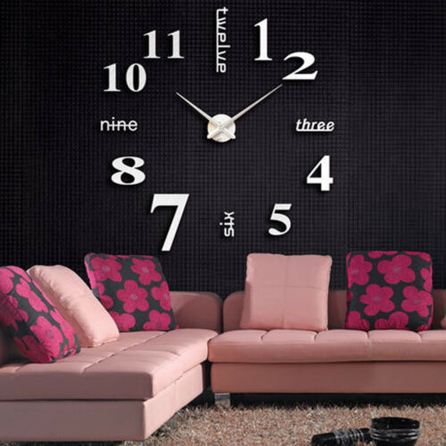Acrylic Modern DIY Wall Clock 3D Mirror Surface Sticker Home Office Decor A
