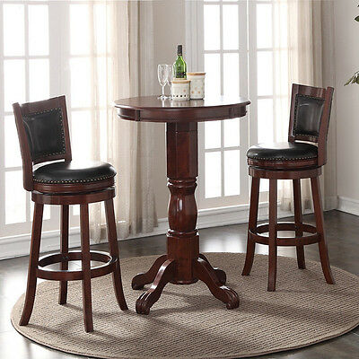 3 Piece Cherry Finish Pub Set Home Dining Room Kitchen Furniture Swivel Stools