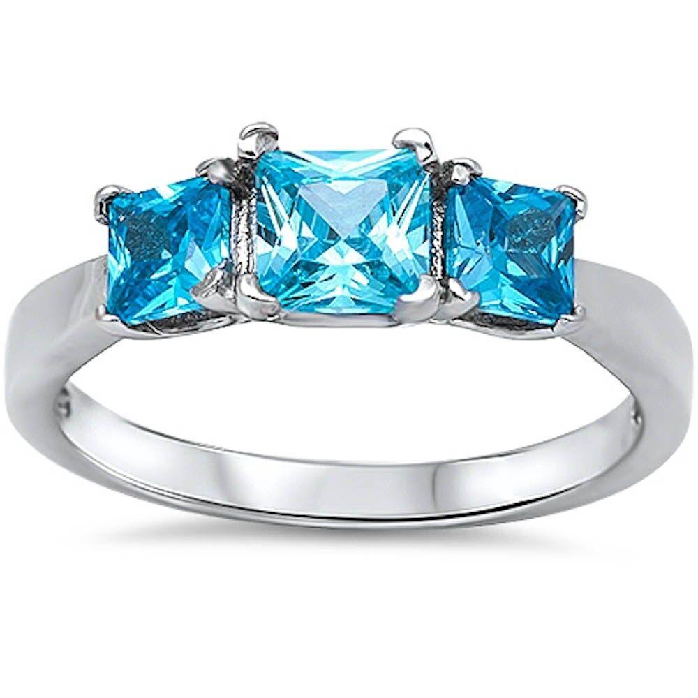 3 princess cut blue topaz 925 sterling silver