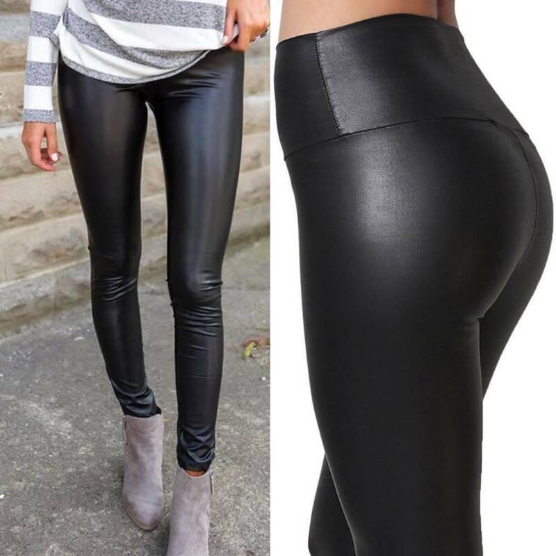 Damen PU Leder Leggins Hohe Taille Clubwear Leggings Wetlook Hüfthoch Optik Hose