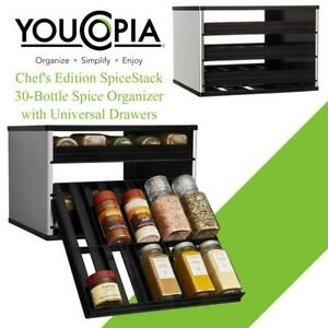 NEW YouCopia Chefs Edition SpiceStack 30-Bottle Spice Organizer with Universal Drawers, Silver Condtion: New, 30 Bot...
