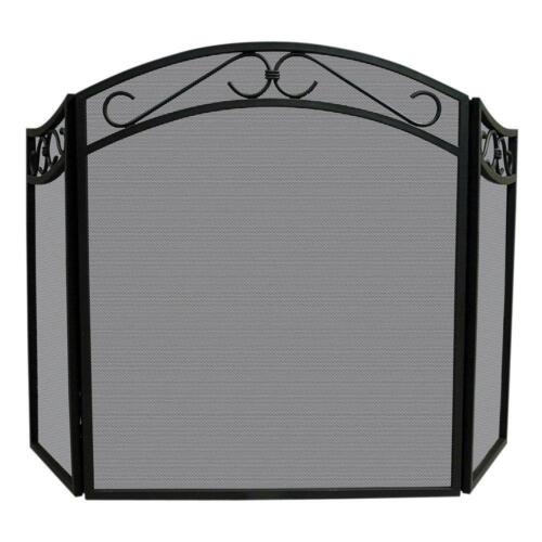 """Uniflame 31"""" 3-Fold Wrought Iron Arch Fireplace Screen Black S-1088"""