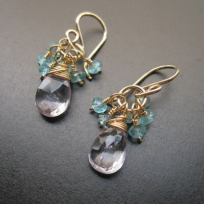 Light Amethyst, Blue Apatite Wire Wrapped Gemstones Earrings (Apatite Wire)
