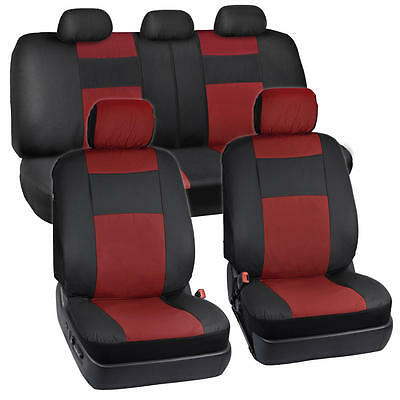 PU Leather Car Seat Covers Black/ Dark Red Two-Tone Split Bench w/ 5 Head Rests