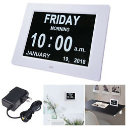 8 Digital LED Clock 6 Alarm Options Dimmable Calendar for Elderly Dementia Home