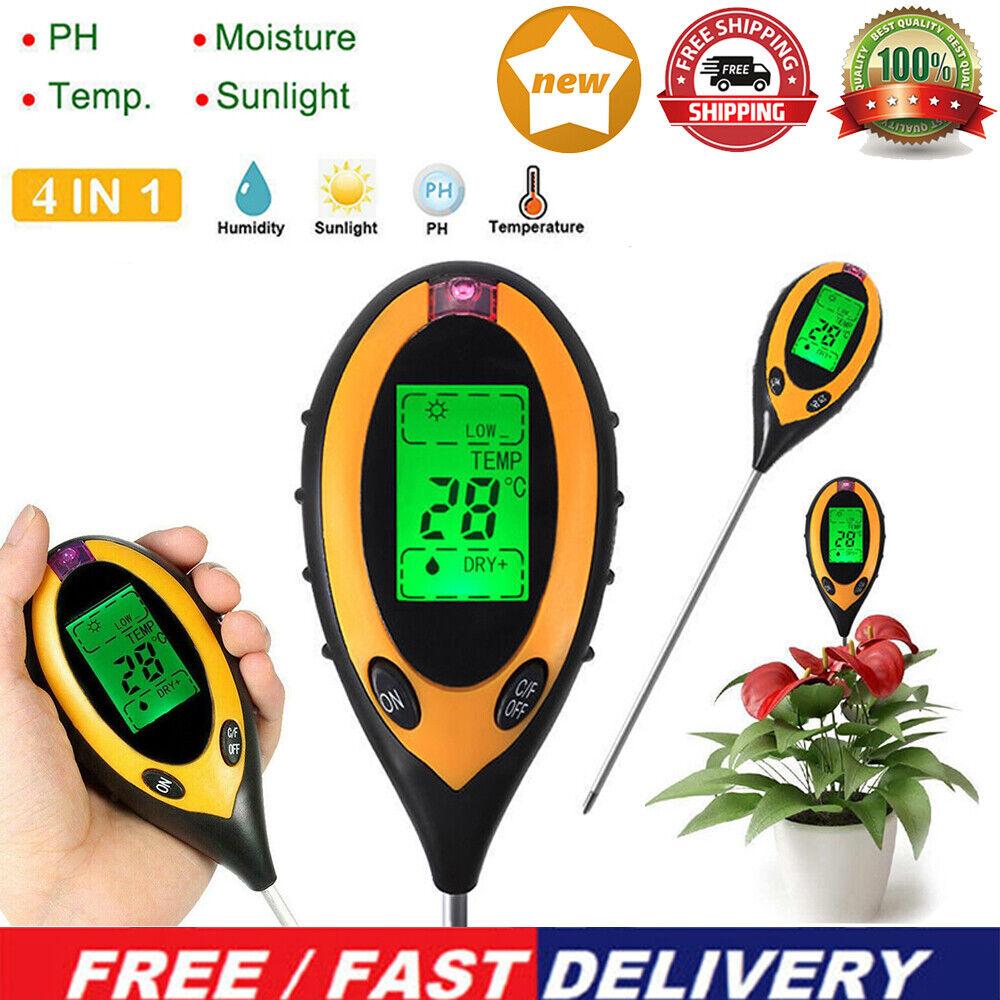 LCD 4 in 1 Bodenmessgerät pH-Wert Temperatur Feuchtigkeit Licht Bodentester DE