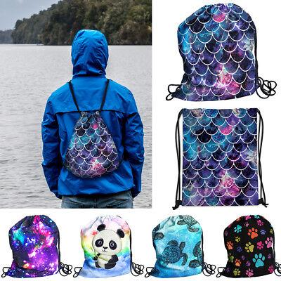 Travel String Drawstring Backpack Sack Shoulder Bag Gym Spor