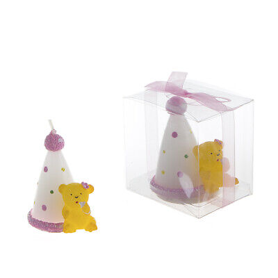 Mega Favors - Teddy Bear with Birthday Cone Candle - Pink, 12PCS ()
