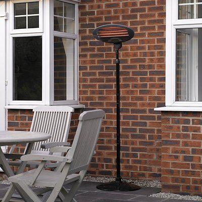 2KW Garden Outdoor Patio Quartz Heater Electric Free Standing Heating Indoor UK