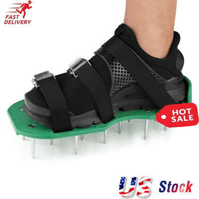 Garden Epoxy Floor Lawn Aerator Shoes - Heavy Duty Grass Spiked Sandals Aofu