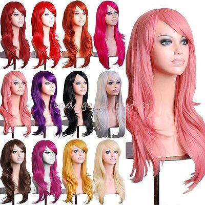 Ladies Halloween Wigs (Long Cosplay Full Wig Lady Pastel Hair Fairy Halloween Dress Party Wavy)