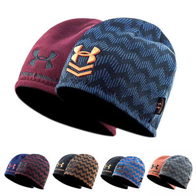 Under Armour Hat Beanie Wave Stripe Storm Embroidered UA Winter Warm Sport Beanie Under Armour